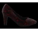 Zapato de salon tacon medio serpiente burdeos