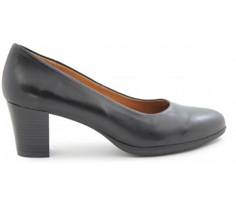 Zapato salón piel planta gel negro