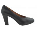 Zapato salón piel escote U negro