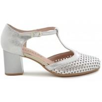 Zapato salon troquelado pitillos 5558 plata - Calzados  Benavente
