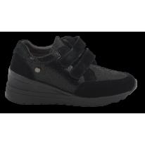 Zapato cómodo cuña media velcros negro