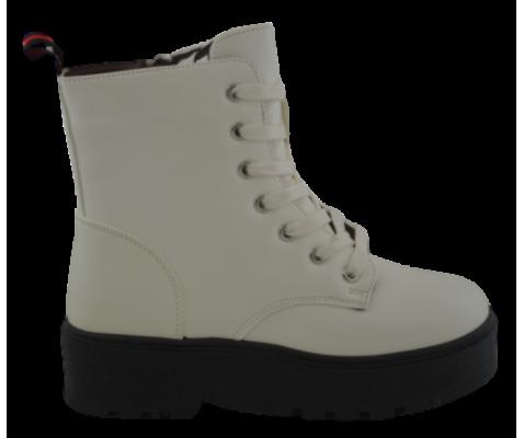 Bota militar plataforma mujer blanco