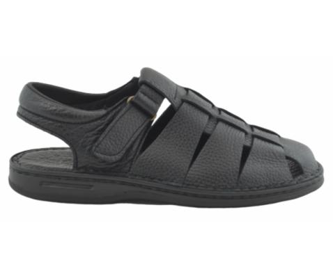 Sandalia piel cangrejera abierta talón negra
