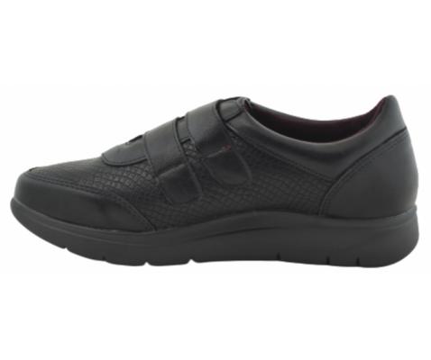 Zapatilla  cómoda doble velcro negra