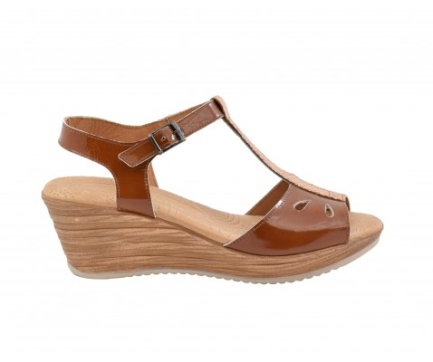 Sandalia de cuña media piel cuero - Benavente