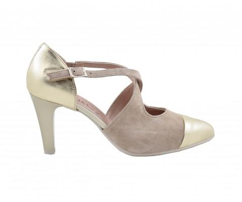 b9d948a4172 Zapato de salón Pitillos 1103 tacón medio oro para mujer - Calzados ...